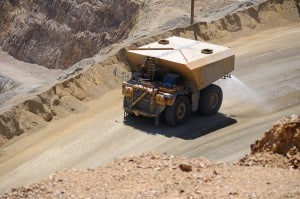 Giant Water Truck Suppressing Dust