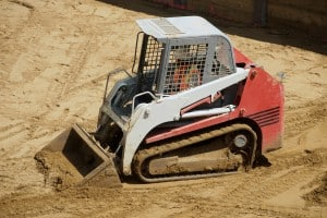 Mini Excavator On Construction Site