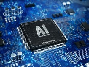 AI, Artificial Intelligence concept - Computer chip microprocess