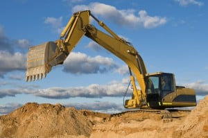 track-type loader excavator at sand quarry